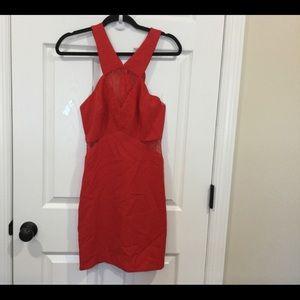 BCBG generation Red Mesh Inset Halter dress, Sz 8